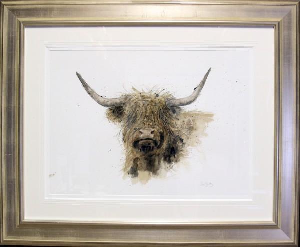 Zaza Shelley_Original_Watercolour_Highland Cow lge_image 28.5 x 20.5_fmd 45 x 36.5