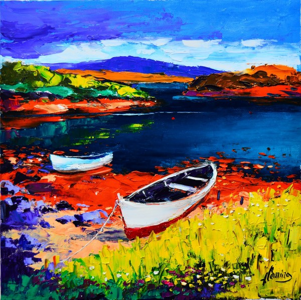 Kevin Fleming_Original Oils_Beached Boats, East Bays, Harris_image 11.5 x 11.5