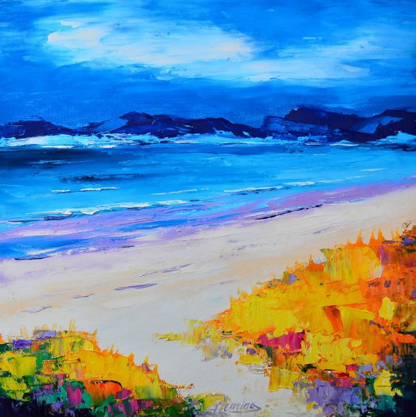 Kevin Fleming_Original Oils_Dusk, Luskentyre Beach,  Harris_image 11.5 x 11.5