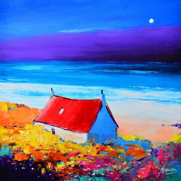 Kevin Fleming_Original Oils_Luskentyre Moon, Harris_Image 11.5 x 11.5