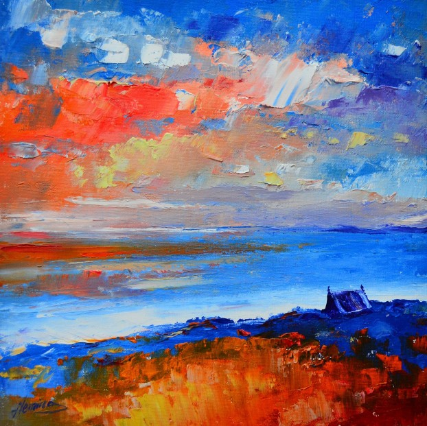 Kevin Fleming_Original Oils_Sunset, Sound of Taransay, Harris_image 11.5 x11.5