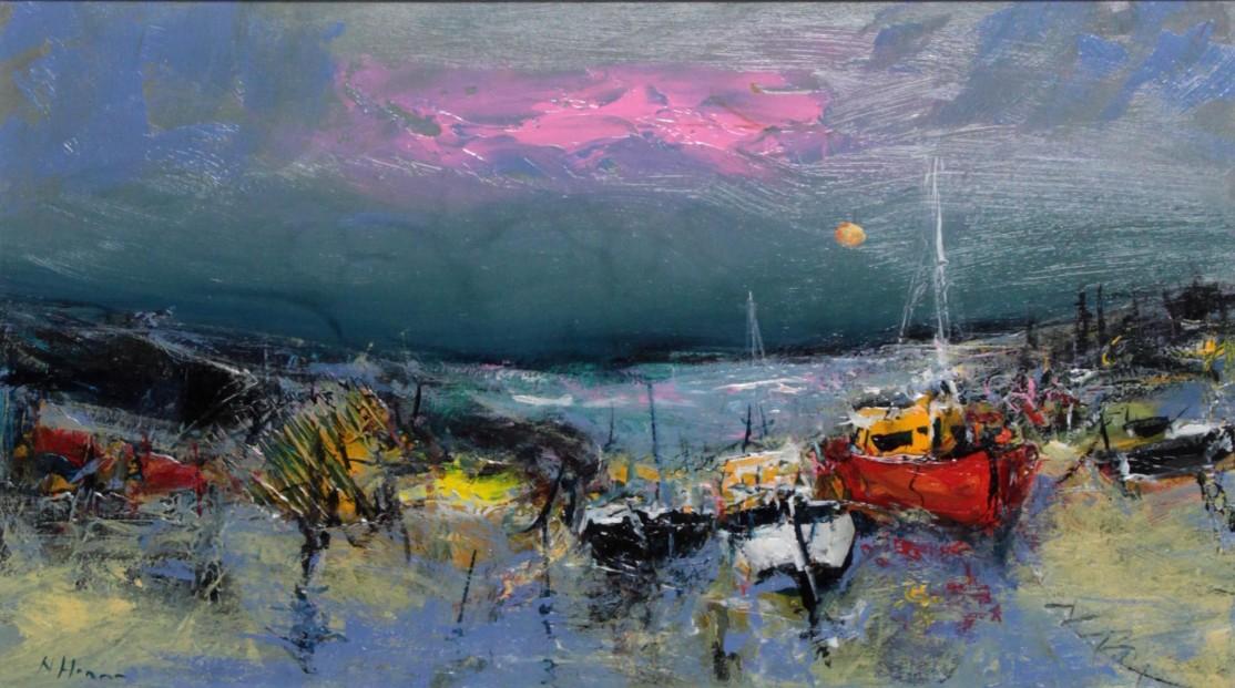 Nael Hanna_ Original_Fishing Boats, Mull_Image 15x27