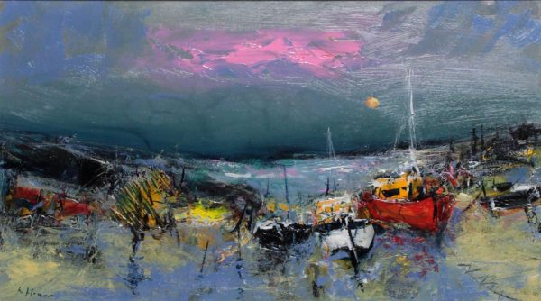 Nael Hanna_ Original_Fishing Boats, Mull_Image 15x27