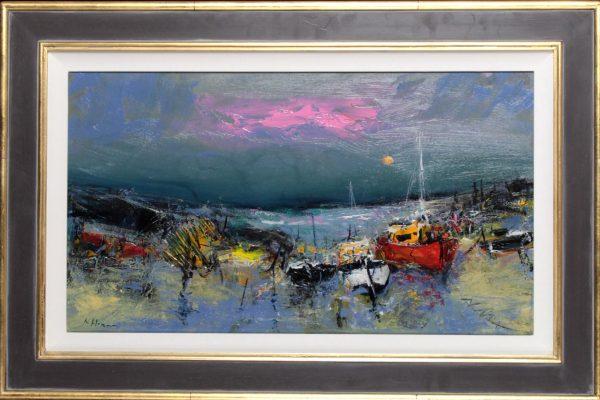 Nael Hanna_ Original_Fishing Boats, Mull_Image 15x27_Framed 23x35