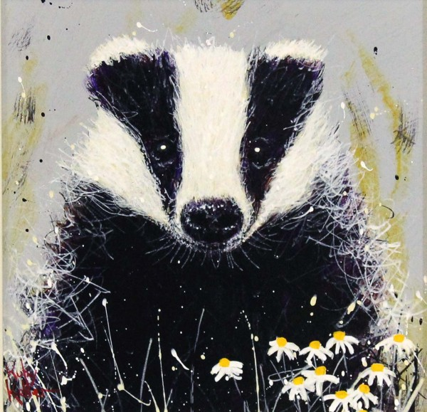 Ruby Keller_Original_Acrylics_Badger with Daisies I_img 10x10