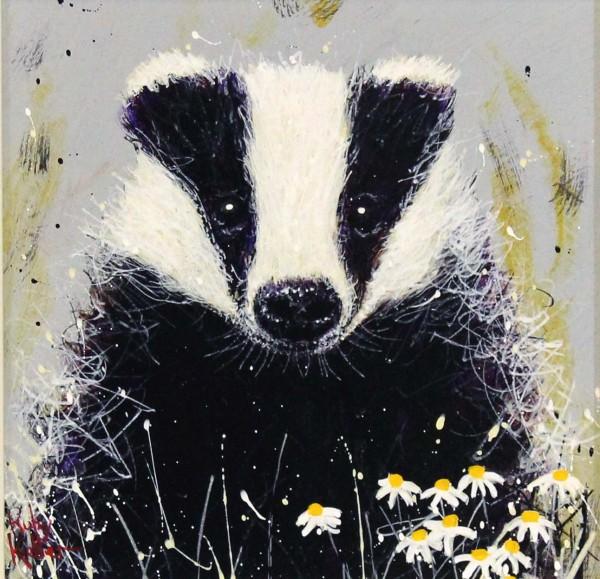 Ruby Keller_Original_Acrylics_Badger with Daisies I_img 10x10