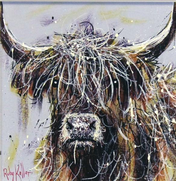 Ruby Keller_Original_Acrylics_Highland Cow II_ img 10x10