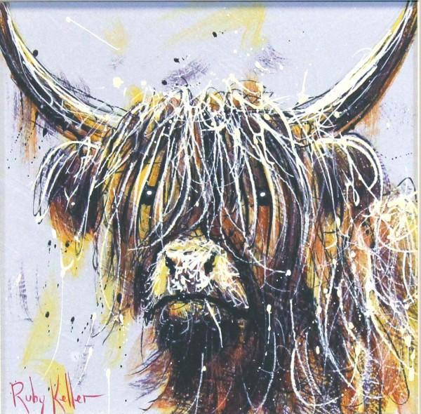 Ruby Keller_Original_Acrylics_Highland Cow I_ img 10x10