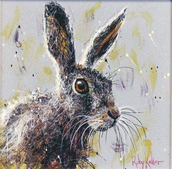 Ruby Keller_Original_Acrylics_Hare II_ img 10x10