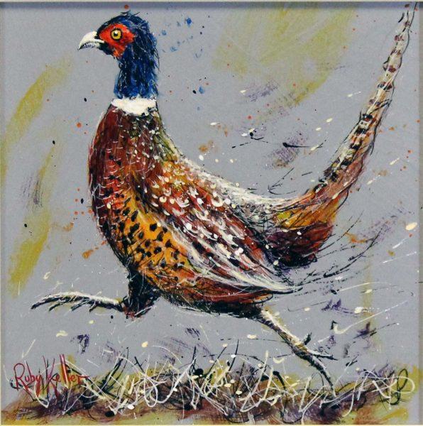 Ruby Keller_Original_Acrylics_Pheasant I_ img 10x10