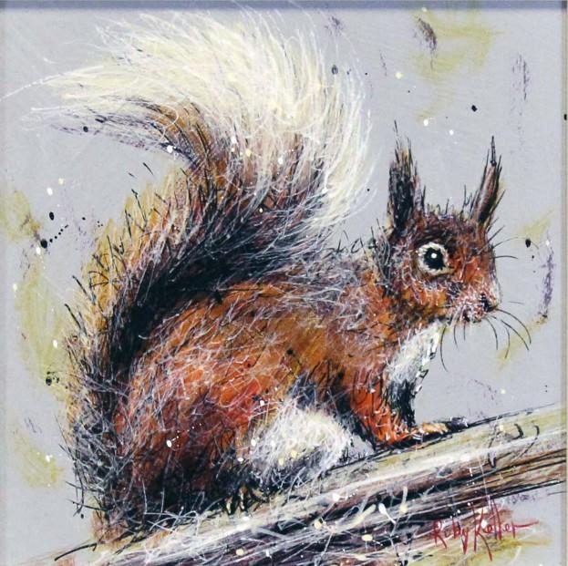 Ruby Keller_Original_Acrylics_Red Squirrel I_img 10x10