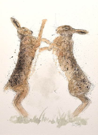 Zaza Shelley_Original_Watercolour_Hares_image 20 x 29
