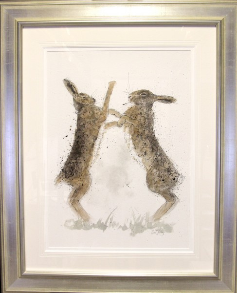 Zaza Shelley_Original_Watercolour_Hares_image 20 x 29_fmd 36.5 x 44.5 £1200