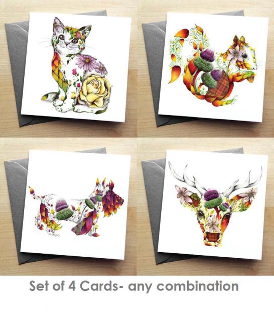 set of four cards