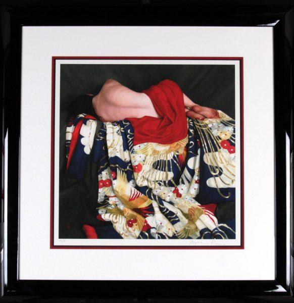 Stephanie Rew- Signed Limited Edition Print_Recline on Blue Uchikake_Image 19.5 x 19.5_Framed 33x33 (2)