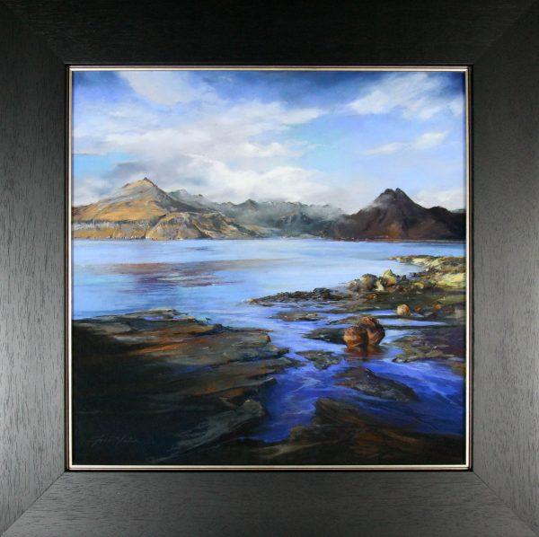 Fiona Haldane_Original_Pastels_The Far Cuillins Elgol, Skye_Fmd 33 x 33