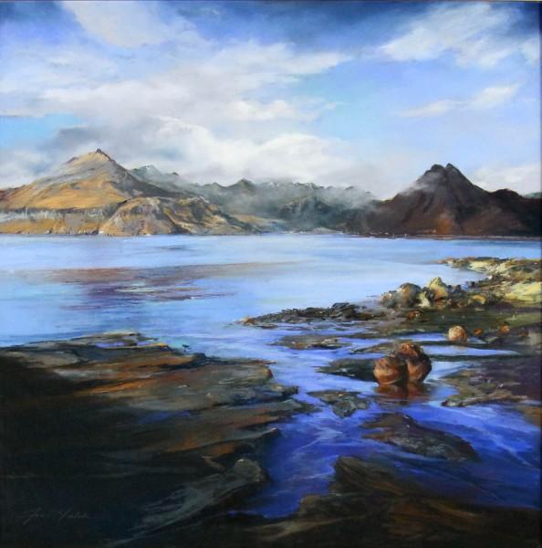 Fiona Haldane_Original_Pastels_The Far Cuillins Elgol, Skye_Image 24 x 24