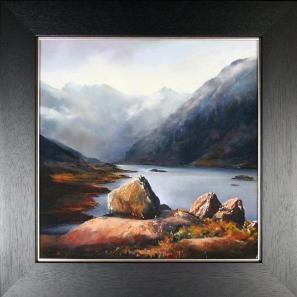 Fiona Haldane_Original_Pastels_The Stones of Coruisk, Skye_Fmd 34 x 34