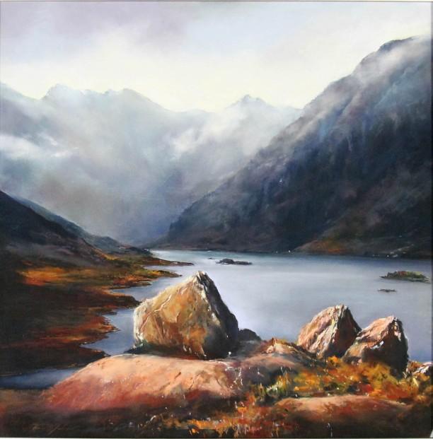 Fiona Haldane_Original_Pastels_The Stones of Coruisk, Skye_Image 25 x 25