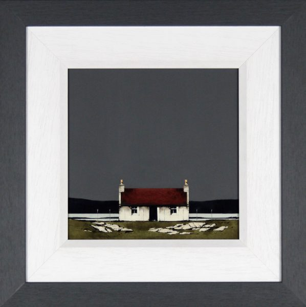 Ron Lawson _Original_Watercolour and Gouache_Barra Cottage_image 10x10_Framed 18x18 (1)