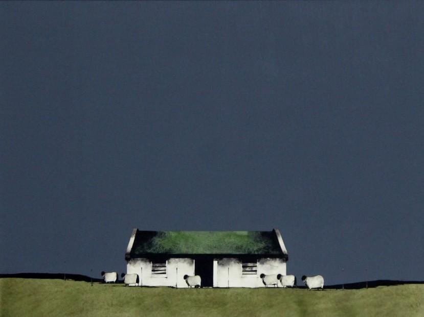 Ron Lawson _Original_Watercolour and Gouache_Farm Building,Barra _image 20x26