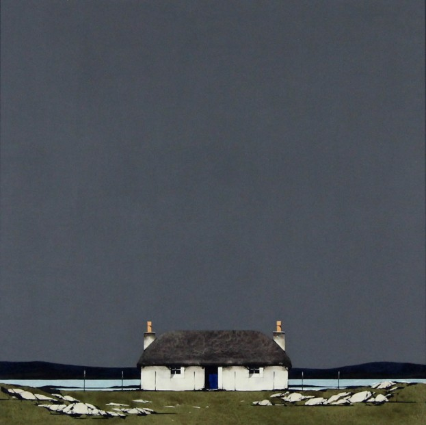 Ron Lawson _Original_Watercolour and Gouache_Hebridean Cottage _image 20x20_(2)