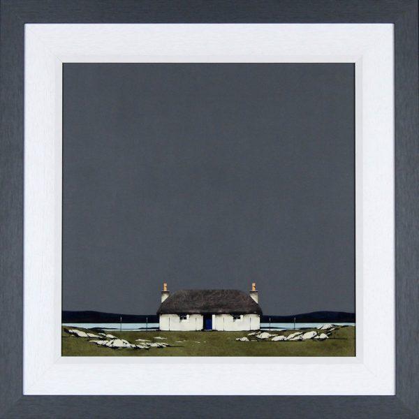 Ron Lawson _Original_Watercolour and Gouache_Hebridean Cottage _image 20x20_Framed 27x27(2)