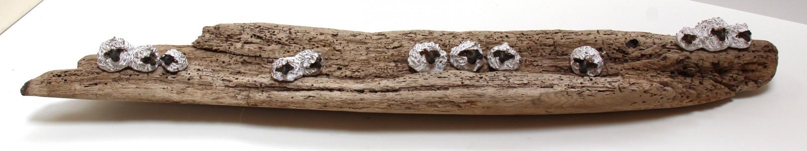 Jane Adams_Original_Ceramic on Driftwood_12 Sheep on a Wormy Log_36x7x5 (1)