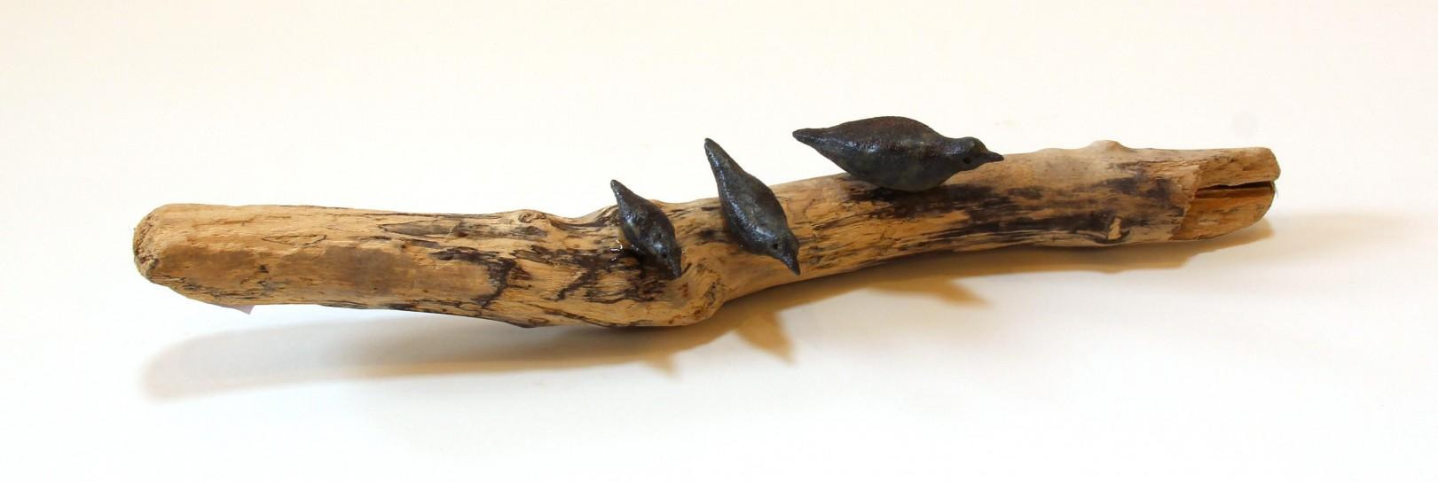 Jane Adams_Original_Ceramic on Driftwood_3 Birds on a Branch_17x3x3 (2)