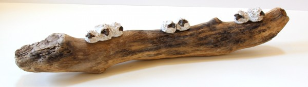 Jane Adams_Original_Ceramic on Driftwood_7 Sheep on a Branch_27x6x5 (1)