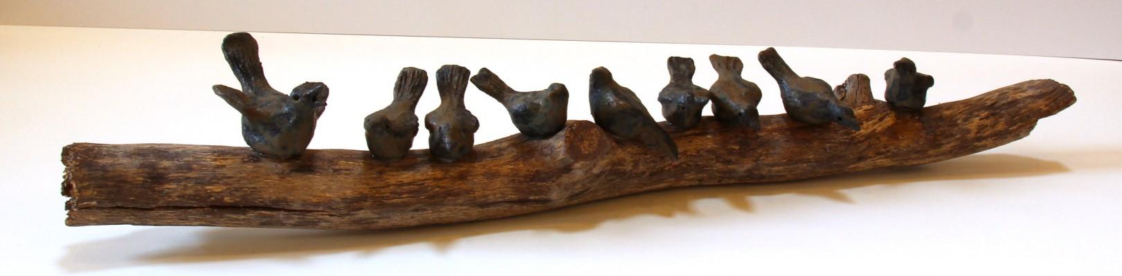Jane Adams_Original_Ceramic on Driftwood_A Flying Lesson_32x6x6 (2)