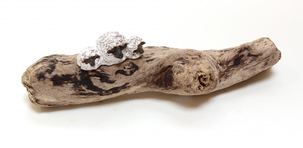 Jane Adams_Original_Ceramic on Driftwood_Sheep and Lambs_14x4 (2)