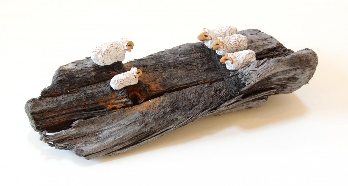 Jane Adams_Original_Ceramic on Driftwood_The Stand Off_18x8x5 (1)
