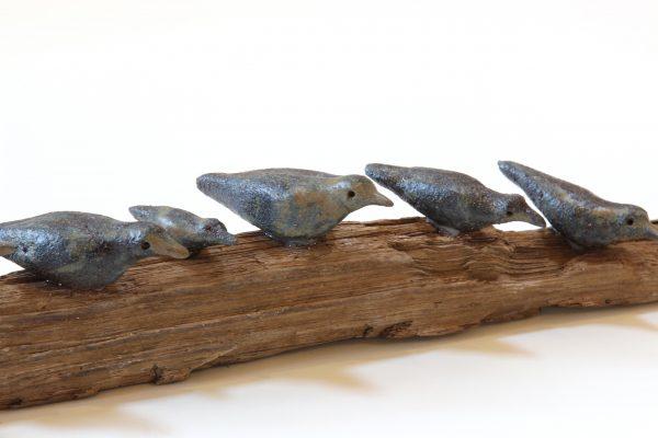 Jane Adams_Original_Ceramic on Driftwood_Wee Birds I_27x2x3 (3)