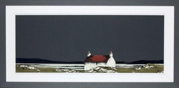 Ron Lawson_Original_Watercolour and Gouache_Bruairnis, Barra_image 15 x 38.5_ Framed 23x47 (2)