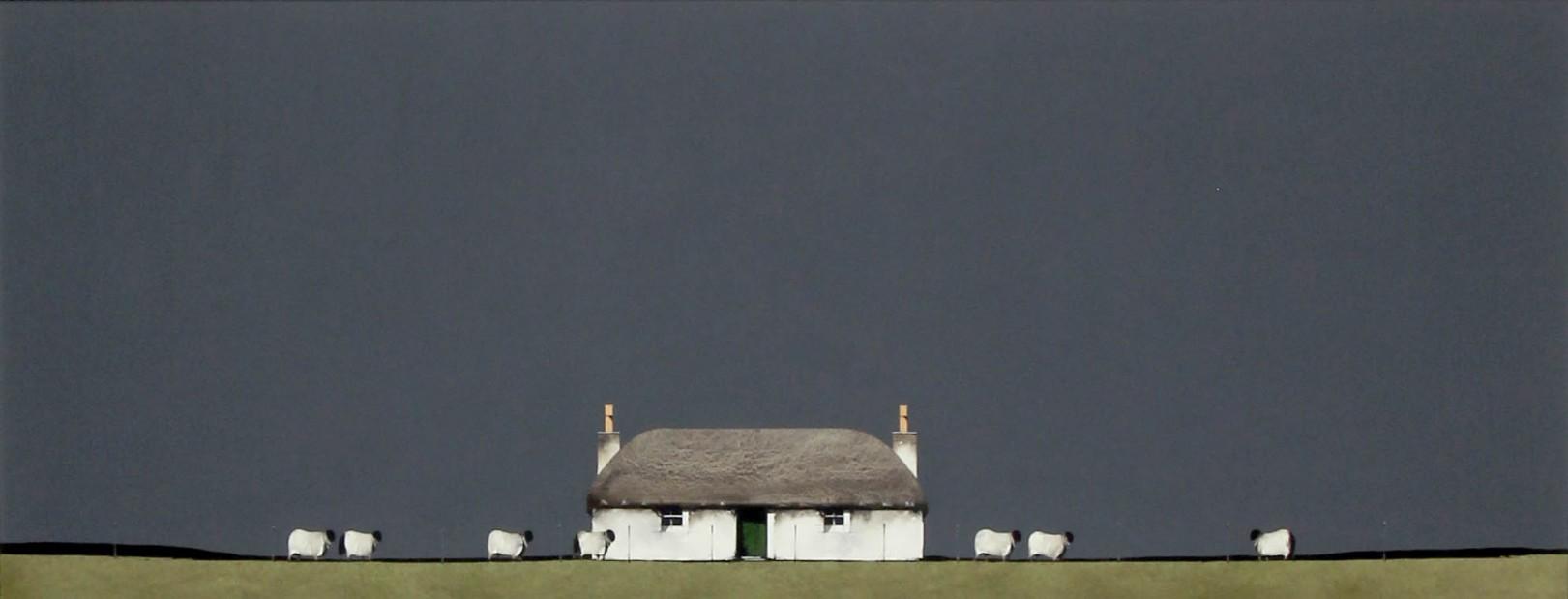 Ron Lawson_Original_Watercolour and Gouache_Crofter's House & Sheep_Image 15x38 (3)