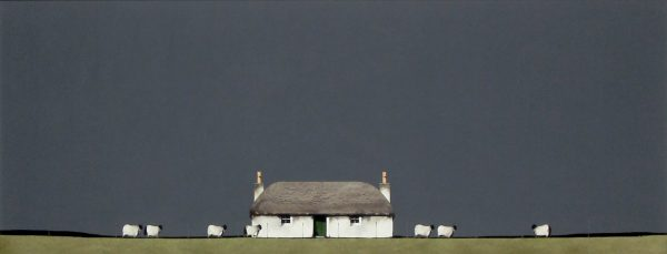 Ron Lawson_Original_Watercolour and Gouache_Crofter's House & Sheep_Image 15x38 (3)