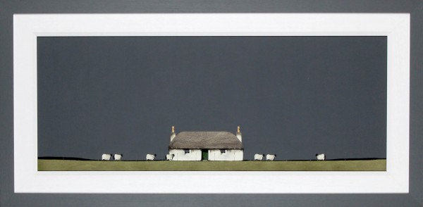 Ron Lawson_Original_Watercolour and Gouache_Crofter's House & Sheep_Image 15x38.5_Framed 23x47 (1)