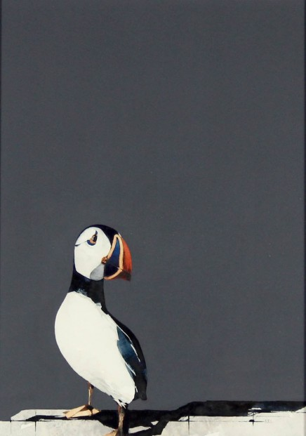 Ron Lawson_Original_Watercolour and Gouache_Puffin Portrait II