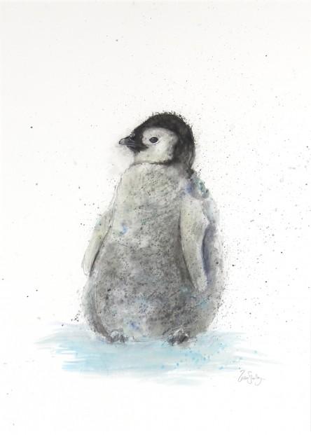 Zaza Shelley_Original_wcolour_Penguin_37x45 fmd_21 x 28img