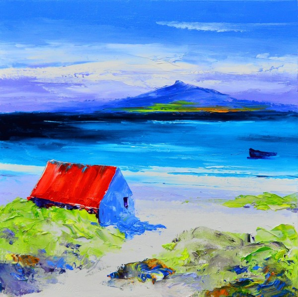 1.Summer, Boathouse at Luskentyre,   towards Taransay, Harris