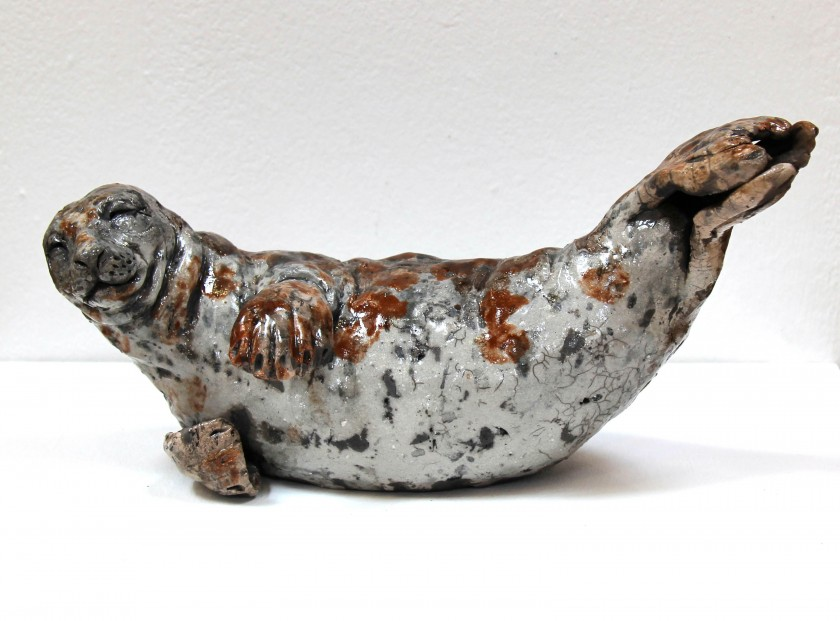 Lesley McKenzie_Original_Raku ceramic_Grey Seal_14x6.5x6.5_