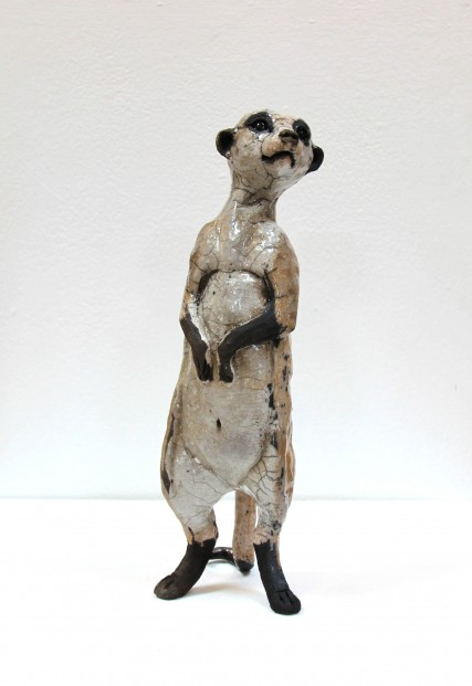 Lesley McKenzie_Original_Raku ceramic_Large Meerkat III_13x5x5 (1)