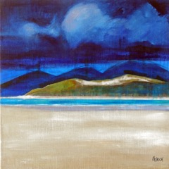 Low Tide, Luskentyre Beach - 66 x 66cm - 26X26INCHES white on white
