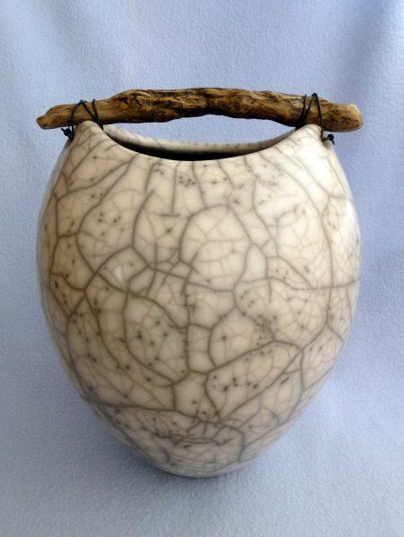 1. handbuilt cracklepot with driftwood