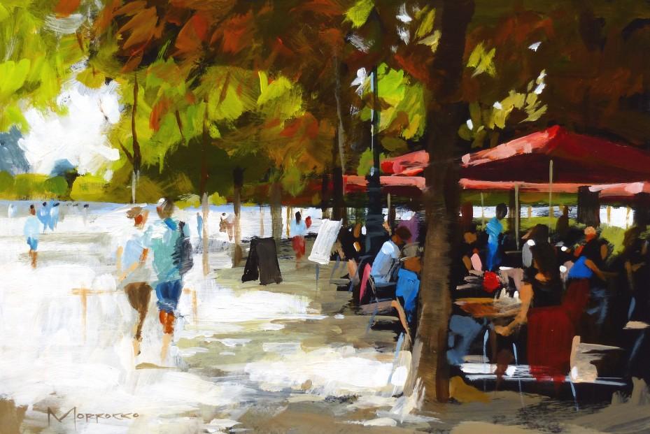 40.Jack Morrocco_Original_ Acrylic on Board_Tuileries0190 8x12
