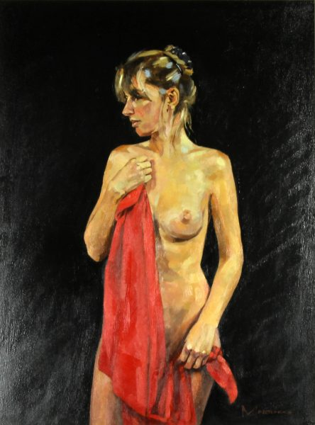 Jack Morrocco_ Original Oil on Canvas_Nude with Red Drape_24x28_Framed (2)