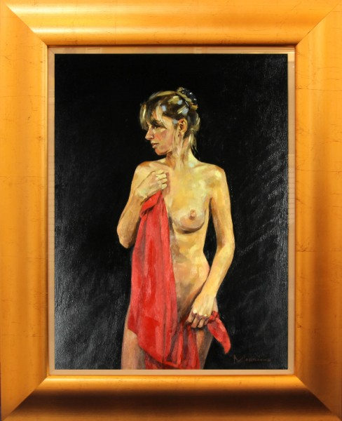 Jack Morrocco_ Original Oil on Canvas_Nude with Red Drape_24x28_Framed (7)