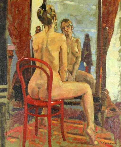 Jack Morrocco_Original Oil on Canvas_Reflection in a Cheval Mirror_22x18_Framed 31x27 (3)