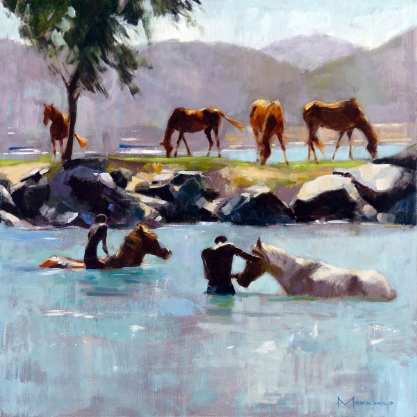 20.St Lucia404m 20.Jack Morrocco_Original_ Oil on Canvas_Washing Horses of the Surf, St Lucia_24x24